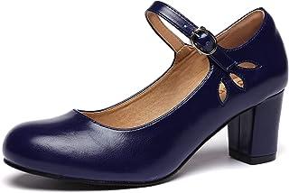 Odema 女式 Mary Jane 牛津鞋,粗跟中跟踝带鞋