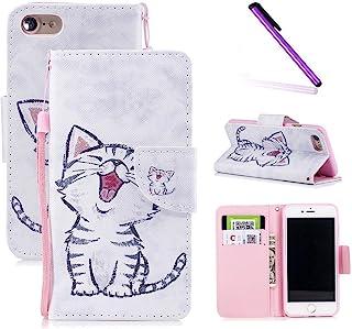 iPhone 6 手机壳4.7 英寸,iPhone 6s 手机壳LEECOCO 独特 3D 印花钱包手机壳卡现金夹带腕带【支架】优质 PU 皮对开翻盖手机壳 iPhone 6S HX] Smile Cat