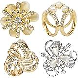 kilofly 4 件套女士优雅人造珍珠水晶莱茵石围巾带扣夹