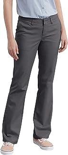 Dickies 女式无褶弹力斜纹裤修身靴裤