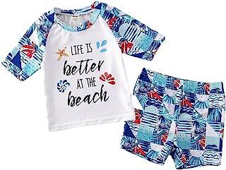 婴儿幼儿男孩女孩两件套泳装套装 儿童字母印花泳衣*衣 UPF 50+