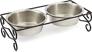 PetRageous 11133MAR 侧漩涡不锈钢防滑狗用餐器,黑色,6.5 杯容量,两个可用洗碗机清洗不锈钢碗,5.30 英寸(约 13.6 厘米)高喂食器,适用于大型犬和猫咪