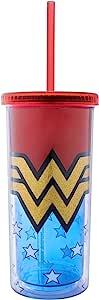 Silver Buffalo WW11218FG DC 漫画神奇女侠闪光塑料高筒冷杯带盖和吸管,20 盎司,多色