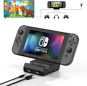 Vivefox Nintendo Switch Dock - 便携式开关充电底座电视游戏架开关扩展坞替换件适用于带 4K HDMI USB 3.0 端口和 3.5 耳机插孔的 Nintendo Switch