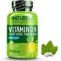 NATURELO维生素D - 含2500IU维生素D-地衣-天然维生素D3促进系统,骨骼,关节的成长-可食用-纯素食-不…