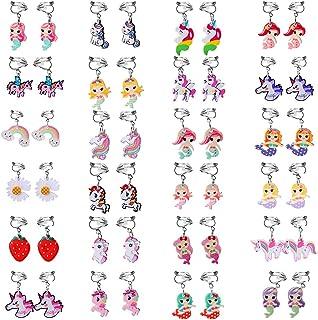 Sumfox 24 对女孩夹式耳环公主游戏珠宝耳环套装女孩适合独角兽耳环女孩美人鱼夹式耳环适合小女孩儿童耳环派对礼物