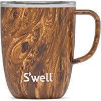 S'well 不锈钢旅行杯 带手柄 – 12 盎司(约 340.2 克) – 柚木 – 三层真空隔热容器设计用于保持饮料…