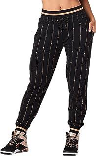 Zumba 透气运动服舞蹈运动裤宽松健身裤,适合女士,大胆黑,L 码