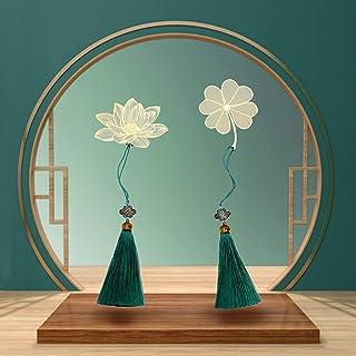 2 件装金属叶书签,四叶草和莲花设计精美金色,适合读者、男士、女士、孩子、朋友、同学和家人的完美礼物(2 件套)