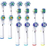 16 只装替换刷头与 Oral B 电动牙刷兼容,兼容 Pro Genius 和 Smart,包括牙线、十字架、精密和…