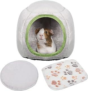 Jetec 豚鼠床带软羊毛垫刺猬屋仓鼠温暖隐藏豚鼠巢床小动物笼洞用品