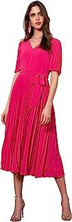 Donna Morgan 女式泡泡绉飘袖 V 领百褶连衣裙,粉色