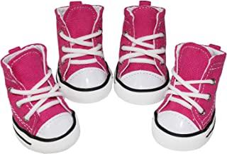 BESUNTEK 宠物狗鞋,小狗帆布运动鞋靴,防滑休闲鞋狗爪保护罩,适用于户外散步、运动和热路面,4 件套(#5,粉色)