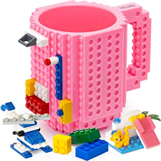 TOYAMBA Build-on Brick 马克杯 - 453.59 ml 不含 BPA 趣味咖啡杯 3 件装积木,儿童趣味杯 - 创意积木马克杯 DIY 礼物创意 粉红色 NCS-TMB-005