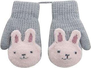 幼儿儿童保暖厚针织 Fnger 连指手套带绳,适合 1-3 岁儿童