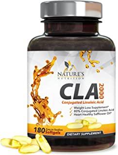高能共轭亚油酸(CLA) 1250(60粒软胶囊)2000毫克,含95% 活性共轭亚油酸 - 男性女性减重补充剂 - ,由美国 Nature's Nutrition 公司生产 180 Softgels 180.00
