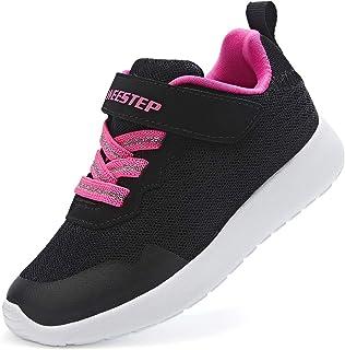 Weestep 幼童/小童男孩女孩跑鞋跑步运动鞋,钩环设计,网眼透气软底