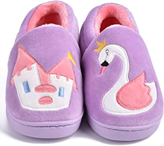 MARITONY 男童女童拖鞋温暖可爱家居幼儿拖鞋毛皮衬里家庭室内冬季鞋