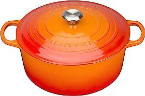 Le Creuset 珐琅铸铁签名圆形荷兰砂锅 ,火焰,3.5夸脱(约3.31升)