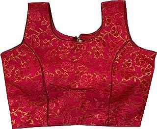 REKHA 女式衬衫纱丽设计师派对服装成衣衬衫纱丽女性设计师印度风格加垫衬衫适用于纱丽露脐 S 037 粉色