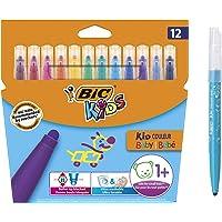 BIC 比克 儿童麦克笔 Kid Couleur 婴儿笔 12 支可水洗毡笔 流行颜色 适合1 岁以上作用 纸箱装