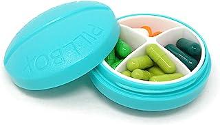 HONBAY 蓝色塑料圆形 4 隔层便携式药盒药盒,适用于旅行、钓鱼、背包、露营、徒步或日常使用