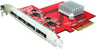 Ableconn PEX-SA134 4 端口 eSATA III 6Gbps PCI Express 四通道主机适配器卡 - AHCI 端口 - Multiplier PCIe 2.0 x4 控制器卡