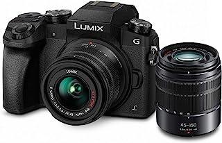 PANASONIC 松下电器 Lumix G7 4K 数码无反光镜相机套装,带Lumix G Vario 14-42mm和45-150mm镜头,16MP,3英寸(约7.62厘米)触摸液晶显示器,DMC-G7WK(美国黑色)