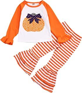 童装女婴火鸡衬衫+条纹喇叭裤子套装秋季服装
