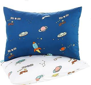 Cloele 儿童幼儿枕套,婴儿枕套 2 件装旅行枕套套装缎面棉枕套适合 35.56x45.76 或 35.72x45.72 厘米,信封枕套,软床上用品小枕头套(空间)