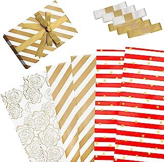 FYY 包装纸(6 张,3 种款式,每张 49.8 x 69.8 厘米),金色花朵圆点条纹礼品包装纸,带蝴蝶结丝带,适合生日婚礼节日派对母亲节情人节