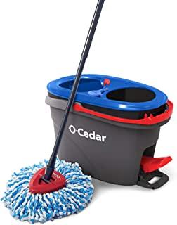 O-Cedar EasyWring RinseClean 超细纤维旋转拖把和桶式地板清洁系统,灰色