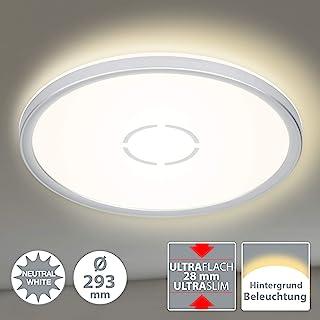 Briloner Leuchten LED 灯,带背光效果的天花灯,18W,2400流明,4000开尔文,圆形,白色/银色,直径29.3厘米,18瓦,白炽灯