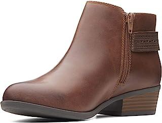 Clarks 女式 Addiy Kara 皮革杏头及踝靴