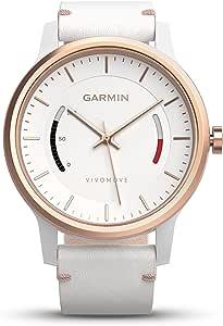 Garmin vívomove 手表,玫瑰金色配皮革表带