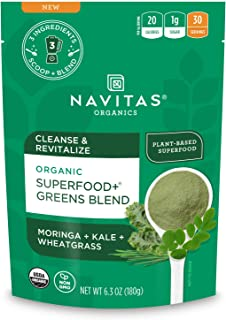 Navitas Organics Superfood+ Greens Blend For Detox Support (Moringa + Kale + Wheatgrass), 6.3oz bag, 30 Servings — Organic...