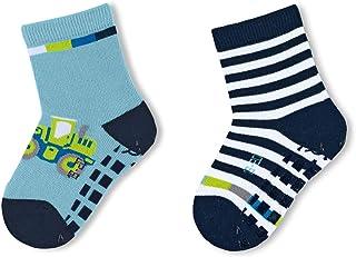 Sterntaler 思丹乐 男婴拼接袜,挖土机图案,两件装袜子