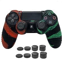 Playstation 4 控制器硅胶保护套防滑皮肤保护套,适用于 PS4 无线控制器配件,带 8 个拇指握把(*红色)
