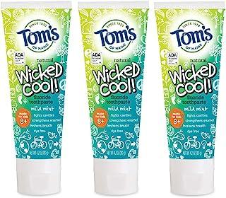 Tom's of Maine 天然氟化物Wicked Cool! 儿童牙膏,天然牙膏,薄荷,5.1盎司/144克,3盒装