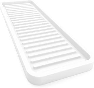 Happitasa 硅胶厨房水槽收纳托盘 | 海绵支架 | 台面保护套 | 款式:直线条(白色,30.48 厘米 x 10.16 厘米)