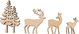Rayher 46584505 木制装饰树/鹿,FSC Mix Cred,天然,4 件,4 - 8 厘米,厚度 5 毫米,SB - Box 1 套,正常