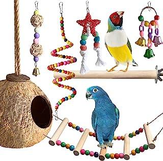鹦鹉玩具,长尾鹦鹉鸟玩具,6 件装鸟秋千玩具笼鹦鹉配件锥体非洲灰色爱情鸟中号小号套装天然咀嚼秋千栖息地椰子屋