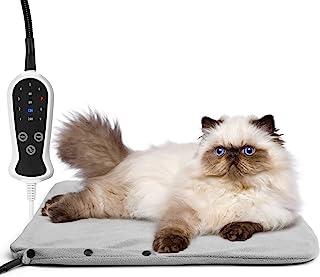 Amzdest 宠物加热垫 – 适用于狗狗和猫的电热垫 4/8/12/24H 定时器 9 级温度,18 x 18 英寸(约 45.7 x 45.7 厘米)防水加热宠物床室内带防咀嚼绳可水洗罩