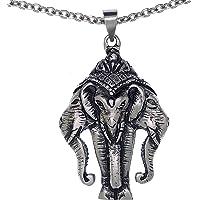 Holy 3 头大象神 Erawan Genesha Hindu 印度泰国老挝青灰色男士吊坠项链钱好运幸运魅力保护护身符…