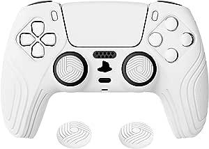 eXtremeRate PlayVital 武士版白色防滑控制器握把硅胶皮肤,符合人体工程学的软橡胶保护套适用于 Playstation 5 PS5 控制器,带白色拇指棒盖