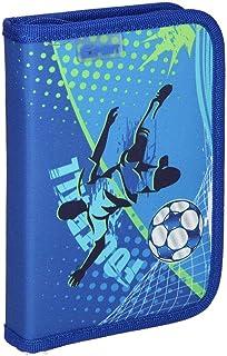 """SPIRIT TTS学生文具盒笔袋笔袋铅笔架铅笔架铅笔架铅笔盒适合女孩青少年男孩铅笔盒大容量学生学生""""足球蓝色"""",1个拉链。"""