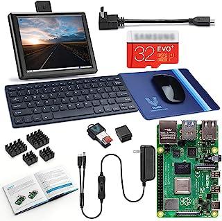 Vilros Raspberry Pi 4 桌面套装,8 英寸屏幕和键盘和鼠标套装VR4B4GBDK002 4GB