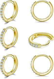 925 纯银小号环状耳环,方晶锆石 Huggie 环状耳环,3 对软骨穿孔耳环,耳饰小环状耳环,适合女士,女孩,男士,8 毫米 10 毫米 12 毫米