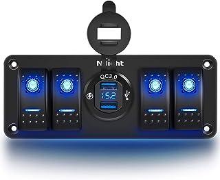 Nilight 4 Gang 摇杆开关面板带 USB 充电器电压表防水 12V-24V DC 摇杆开关带 QC3.0 双 USB 充电器和夜光贴纸,适用于汽车、卡车船、房车、房车、房车、房车、房车、房车、房车、房车、房车、房车、房车、