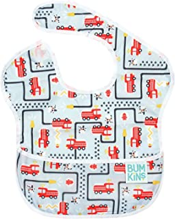 Bumkins SuperBib,婴儿围嘴,防水,可水洗,防污,防臭,适合6-24个月的宝宝 消防车 1包